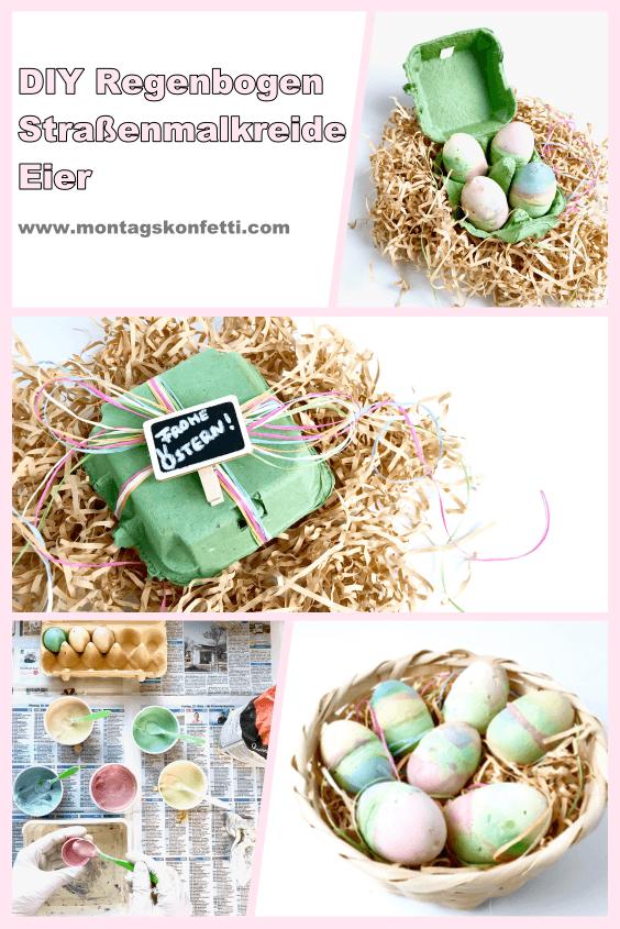 DIY Regenbogen Straßenmalkreide Eier