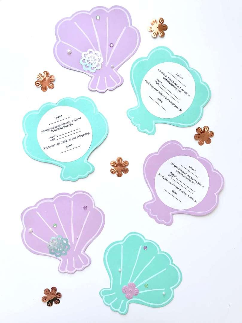 Einladungskarten Meerjungfrauengeburtstag12