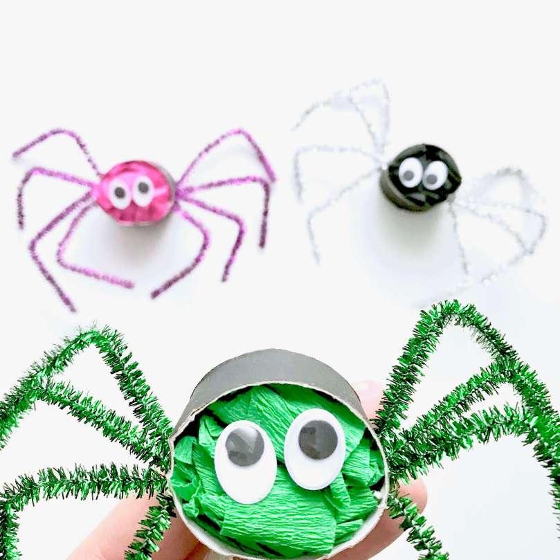 Lustige Spinnen aus Toilettenpapierrollen für Halloween basteln18