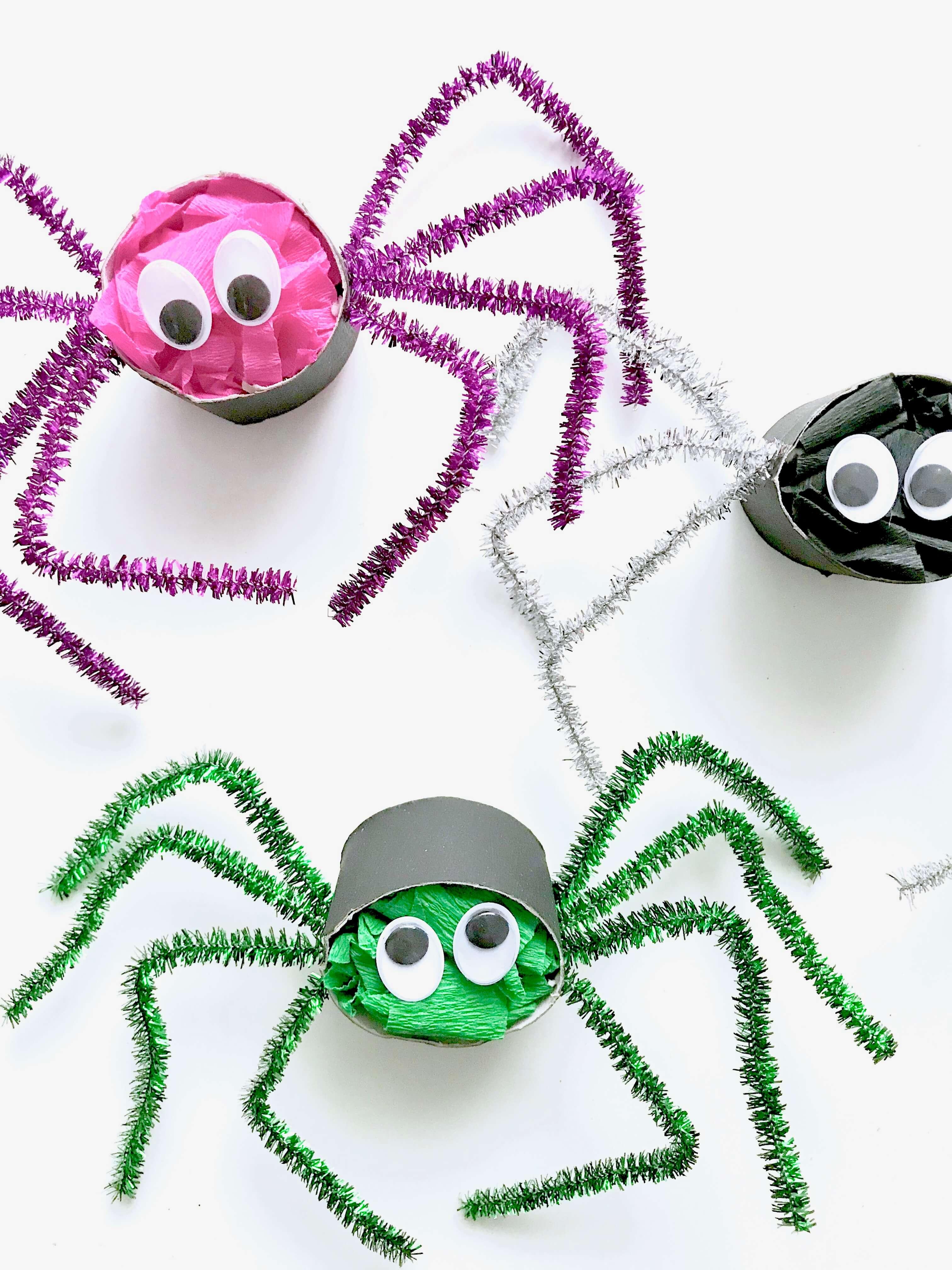 Lustige Spinnen aus Toilettenpapierrollen für Halloween basteln20