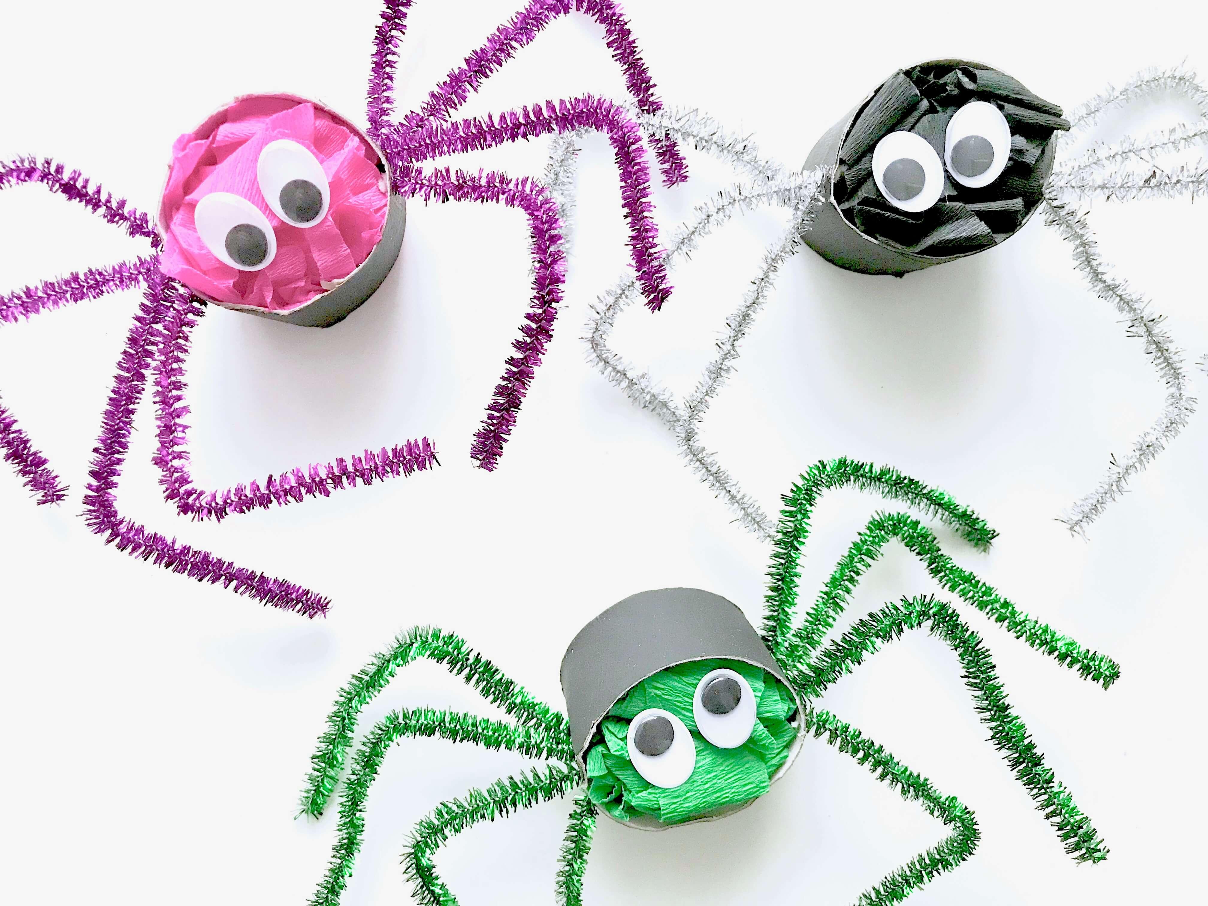 Lustige Spinnen aus Toilettenpapierrollen für Halloween basteln21