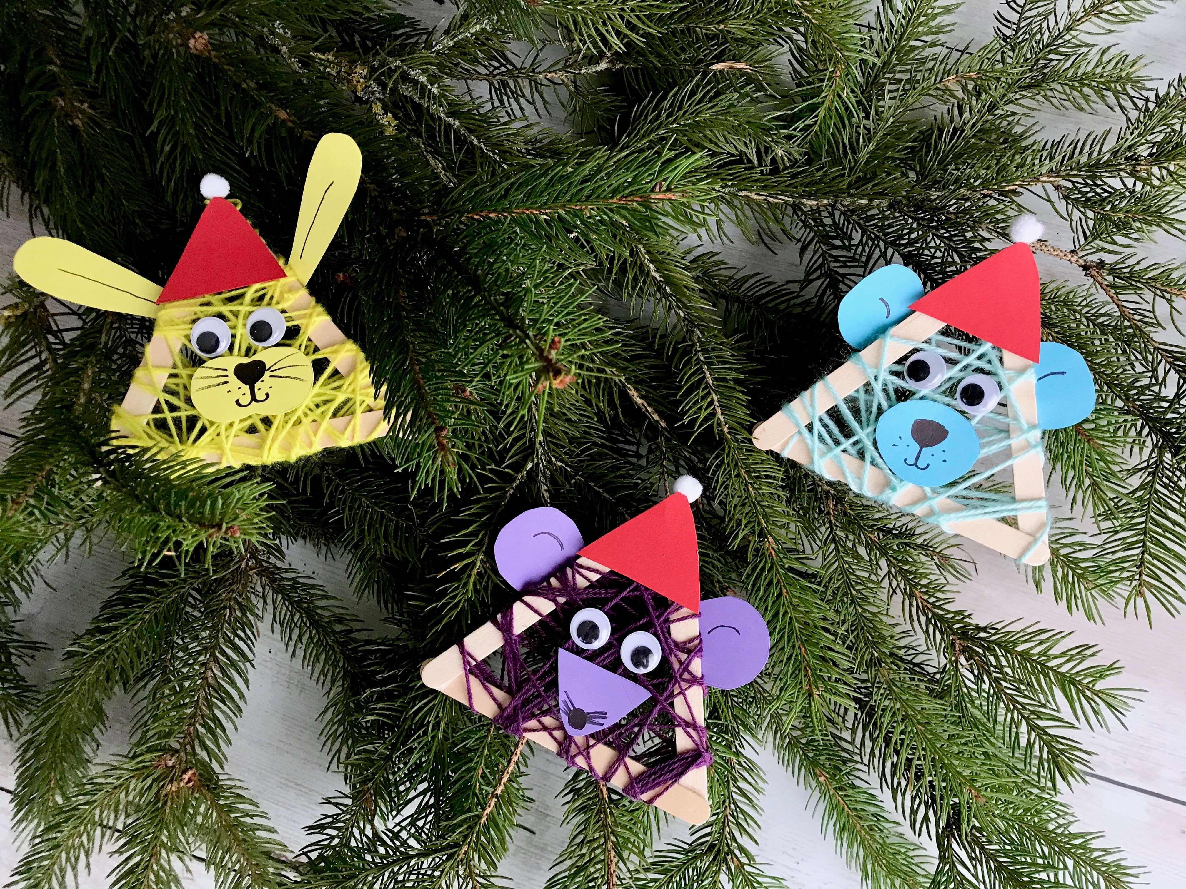 Lustige Weihnachtstierchen aus Holzstäbchen4